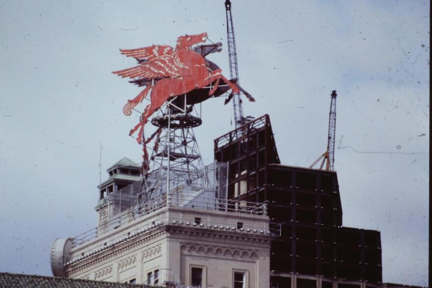 A red neon Pegasus was placed on top of the Magnolia Oil building, now the Magnolia Hotel, in 1934. Photo date unknown.