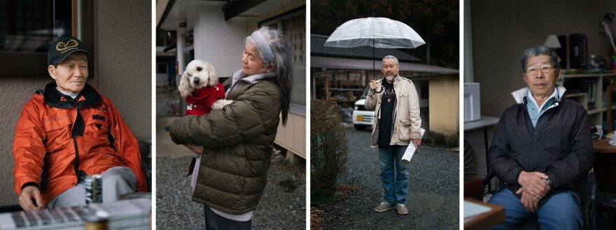 From left: Shuichi Kanno, Shigeko Hoshino, Hiroyuki Shima and Hachiro Endo are neighbors who moved back to Fukushima after the nuclear disaster and who get regular visits from monkeys that eat fruits and vegetables from their gardens.