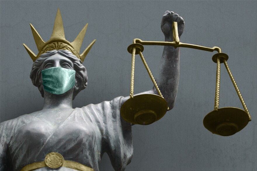 An illustration showing Lady Justice with a mask over her face.