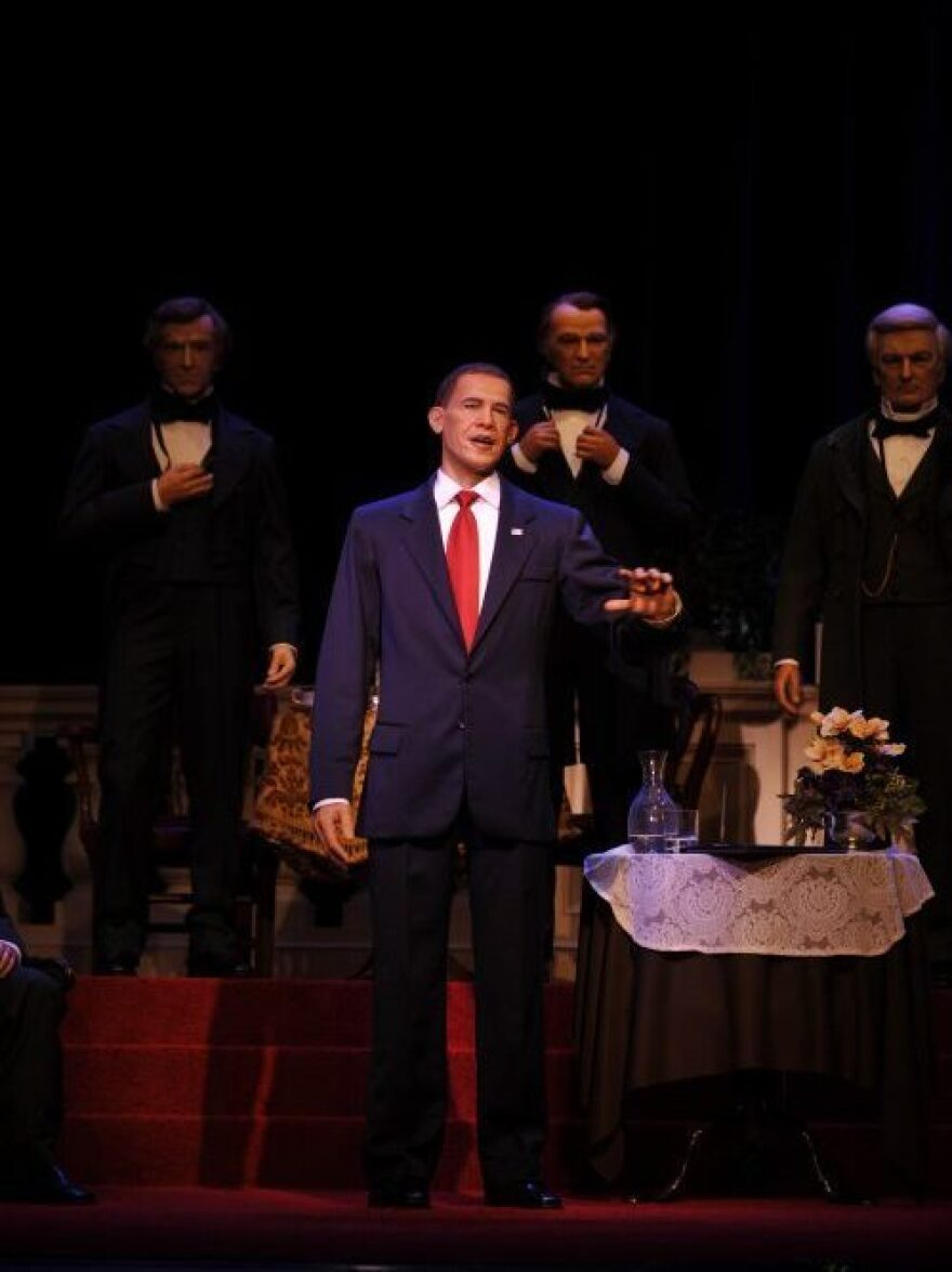 An animatronic figure of President Obama was unveiled at Disney World's Hall of Presidents attraction in 2009.