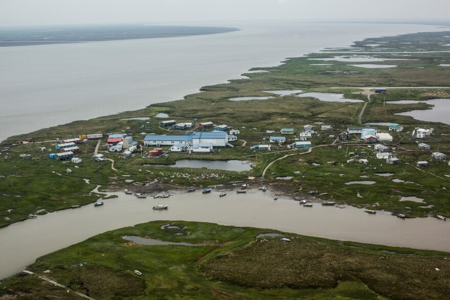 The Alaskan village of Newtok, seen from a plane in 2015, is threatened by eroding land. The Yupik people have lived in coastal areas along the Bering Sea for thousands of years.