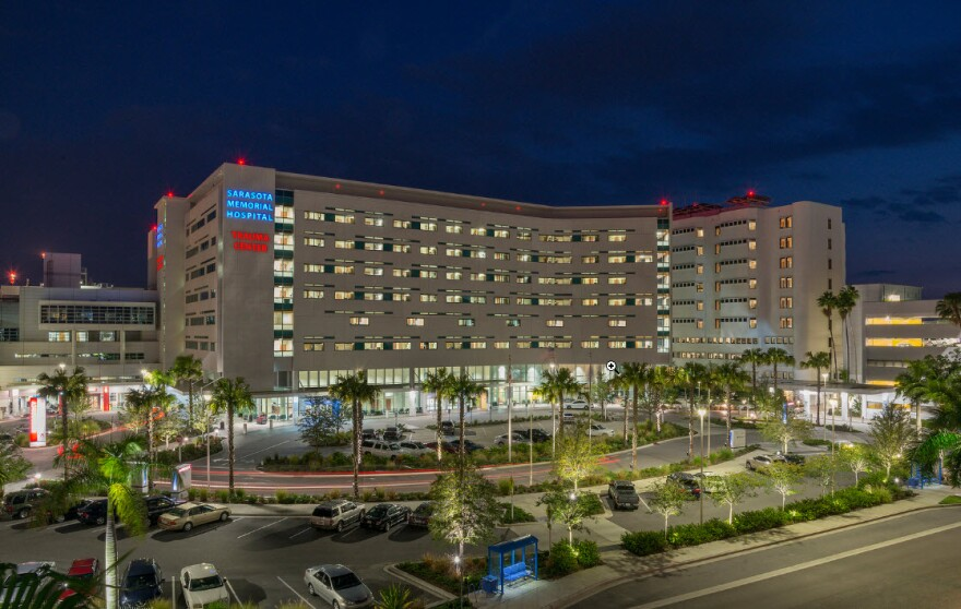 Hospital building at night