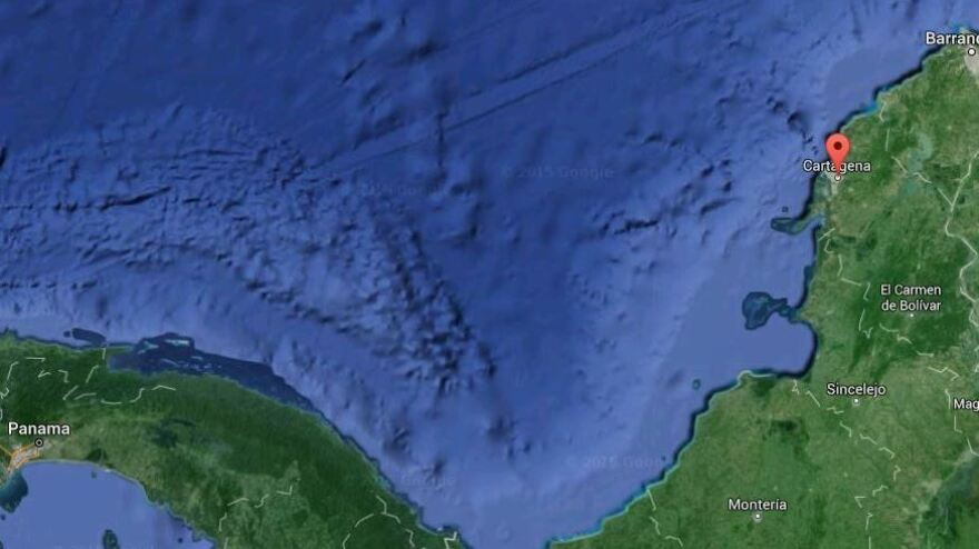 The San Jose was reportedly found miles off of Colombia's Caribbean coast, near Cartagena (marked).