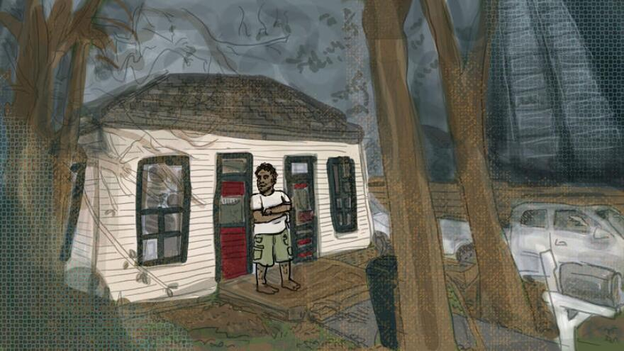 An illustration of John Contreras outside his home on Rainey Street.