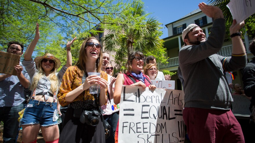 Protesters at the College of Charleston rally against proposed state budget cuts on April 21.