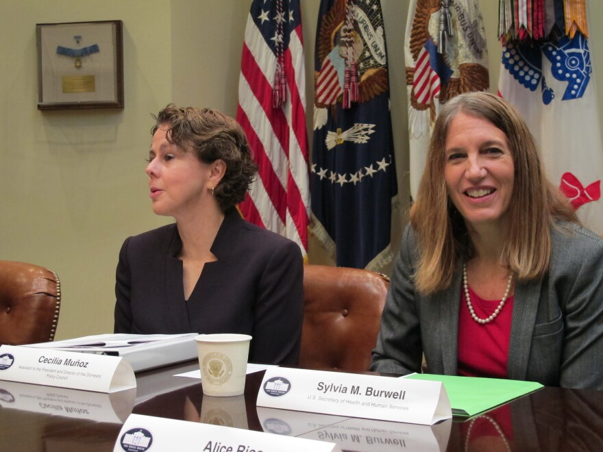 Cecilia Munoz, director of the White House Domestic Policy Council, and Health and Human Services Secretary Sylvia Burwell briefed reporters Thursday on the third year of open enrollment on HealthCare.gov.