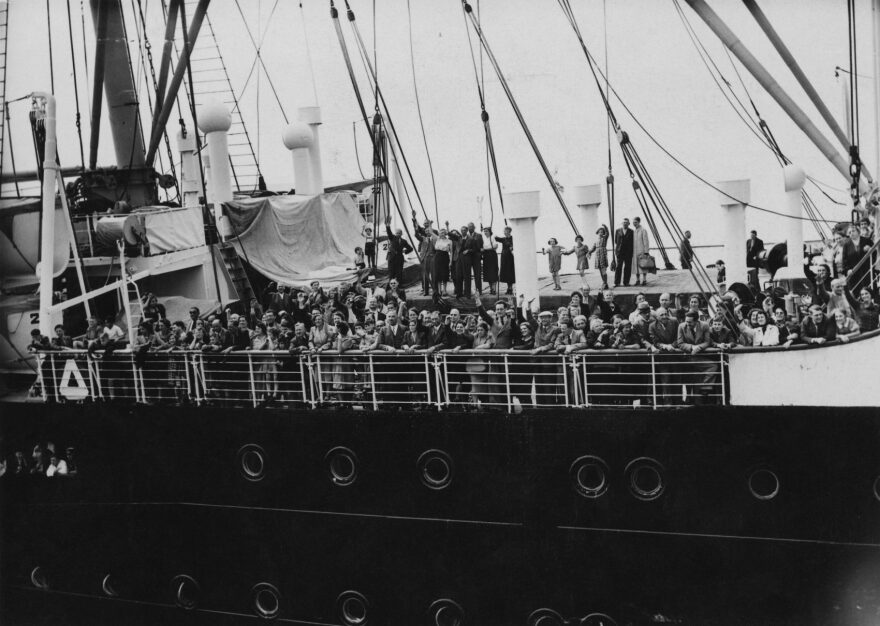 Refugees arrive in Antwerp on the MS St. Louis on June 17, 1939, after over a month at sea, during which they were denied entry to Cuba, the United States and Canada. The St. Louis had originally sailed from Hamburg to Cuba, carrying over 937 mainly German-Jewish refugees from Nazi persecution. (Three Lions/Hulton Archive/Getty Images)