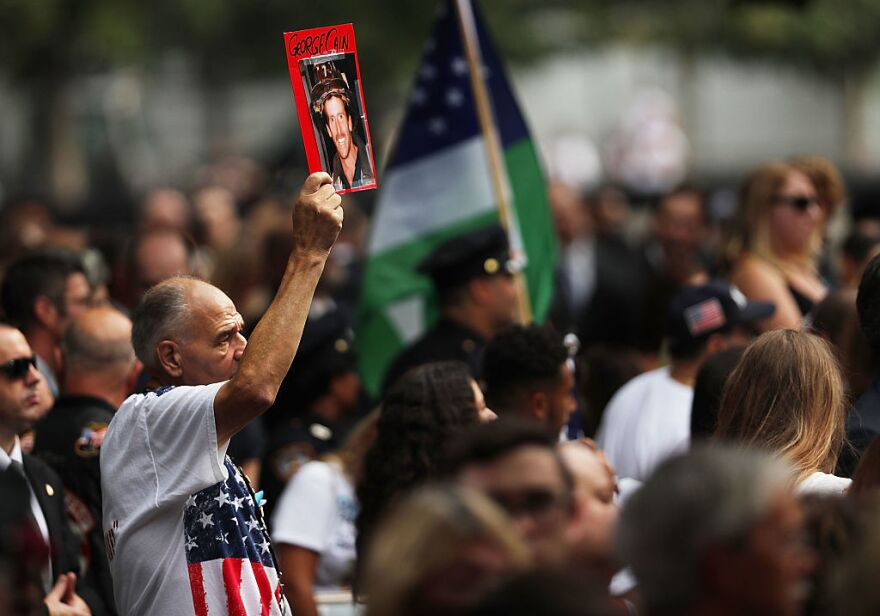 A commemoration ceremony is held for the victims of the Sept. 11 terrorist attacks on Sunday at the National September 11 Memorial and Museum in New York City.