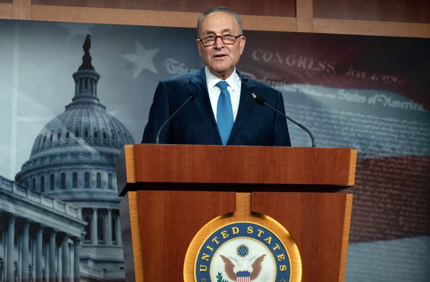 Senate Democratic Leader Chuck Schumer, seen here during a press conference on January 6, 2021, has called for President Trump to be removed from office.