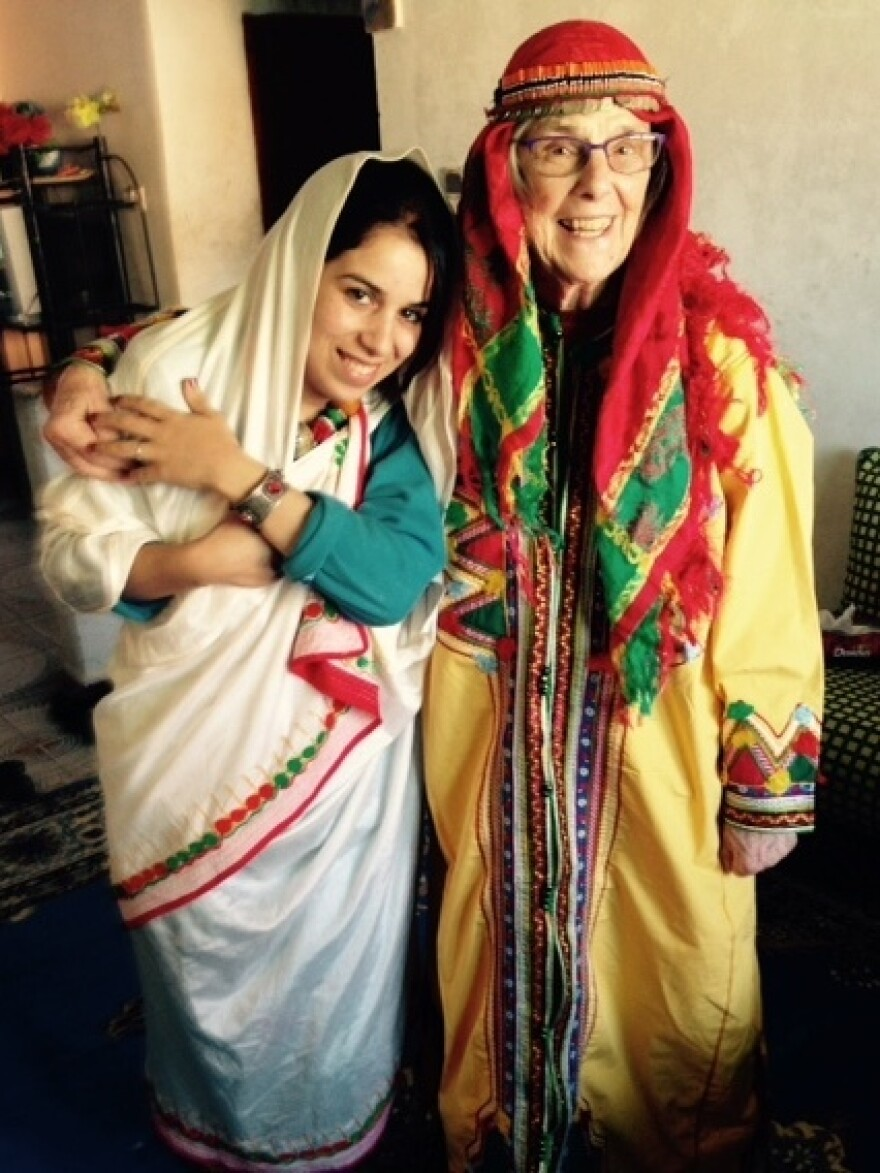 Alice Carter and friend Saida Saleh, dressed in traditional Amazigh clothing. Carter is serving in the Peace Corps in Morocco.