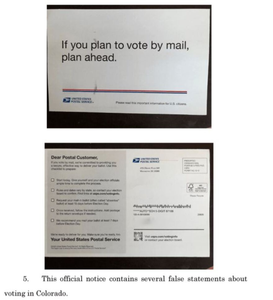 "The inaccurate mailer sent by USPS as presented in Colorado's lawsuit against the Postal Service. The text beneath it reads ""This official notice contains several false statements about voting in Colorado."""