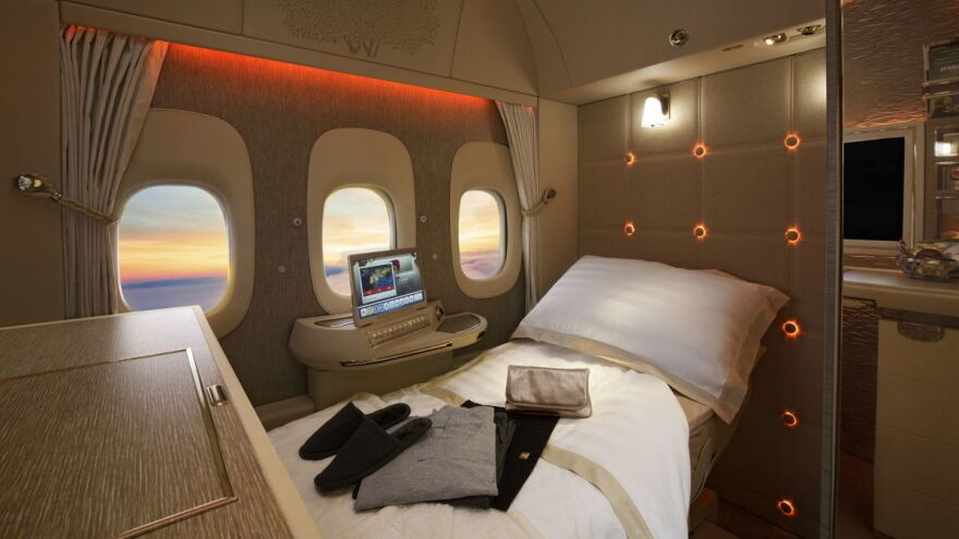 "This Emirates first-class suite doesn't have any windows — those are video screens showing camera footage of the outdoors. The president of Emirates says he predicts the technology will be used to build windowless planes — faster, lighter and filled with ""virtual"" views."