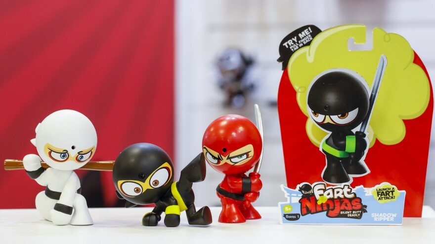 Fart Ninjas wore their primary colors to the toy fair in New York.