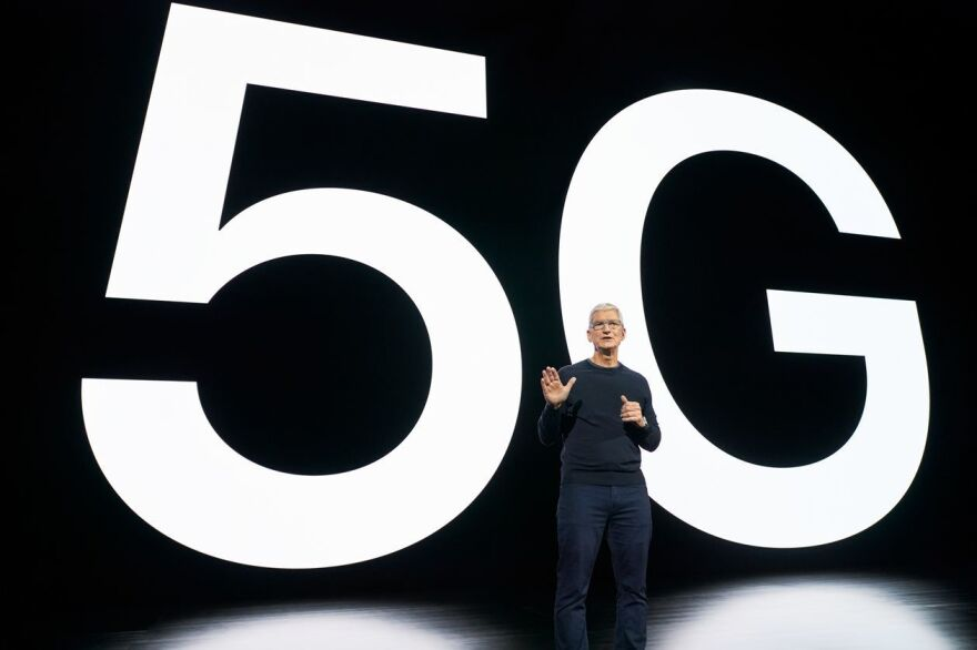 Apple CEO Tim Cook announces the launch of the iPhone 12, which is the first iPhone enabled to harness the power of the 5G network.