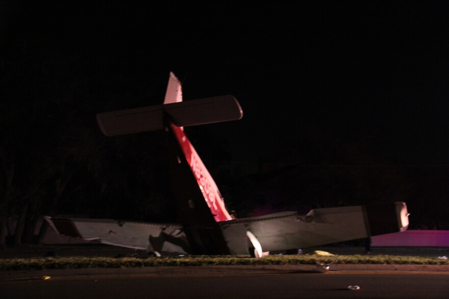 A plane rests in the median on McMullen-Booth Road in Clearwater after crashing March 22. The pilot and a passenger, a father and daughter from Illinois, were killed. A second passenger was released from the hospital in the last week.