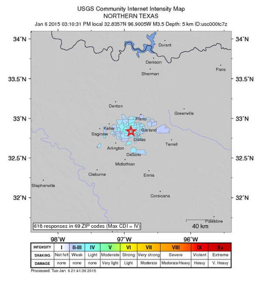 A look at the U.S. Geological Survey's intensity map of Tuesday afternoon's earthquake in Irving.