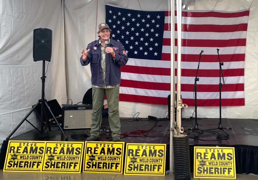 Musician Ted Nugent addresses the crowd at a fundraiser for Weld County Sheriff Steve Reams in Windsor, Colorado.