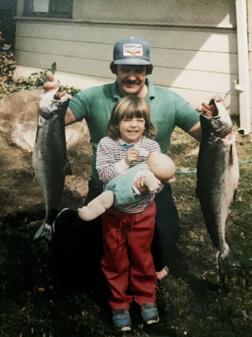 Sara and her father around 1985.