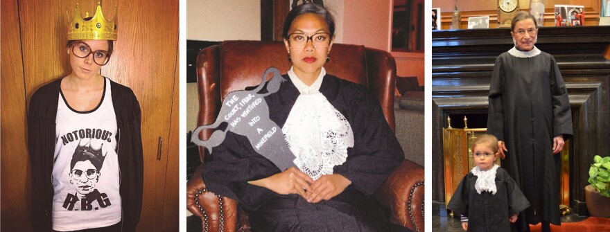 <em>Notorious RBG</em> features a collection of tributes to Justice Ruth Bader Ginsburg. At right, Ginsburg is seen in her chambers with a young fan.