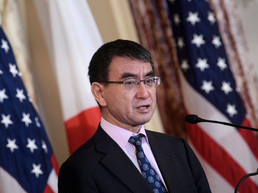 Japan's Foreign Minister Taro Kono plans to ask overseas news outlets to write Japanese names with the family name first, as is the custom in Japan. Kono is seen here last month in Washington.