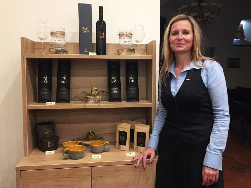 Mojca Pernovsek, head of Sevnica's tourism bureau, at the town's 900-year-old castle, where First Lady products are sold honoring native daughter Melania Trump. They include specially made wine, salami, chocolate, teacups and face cream.