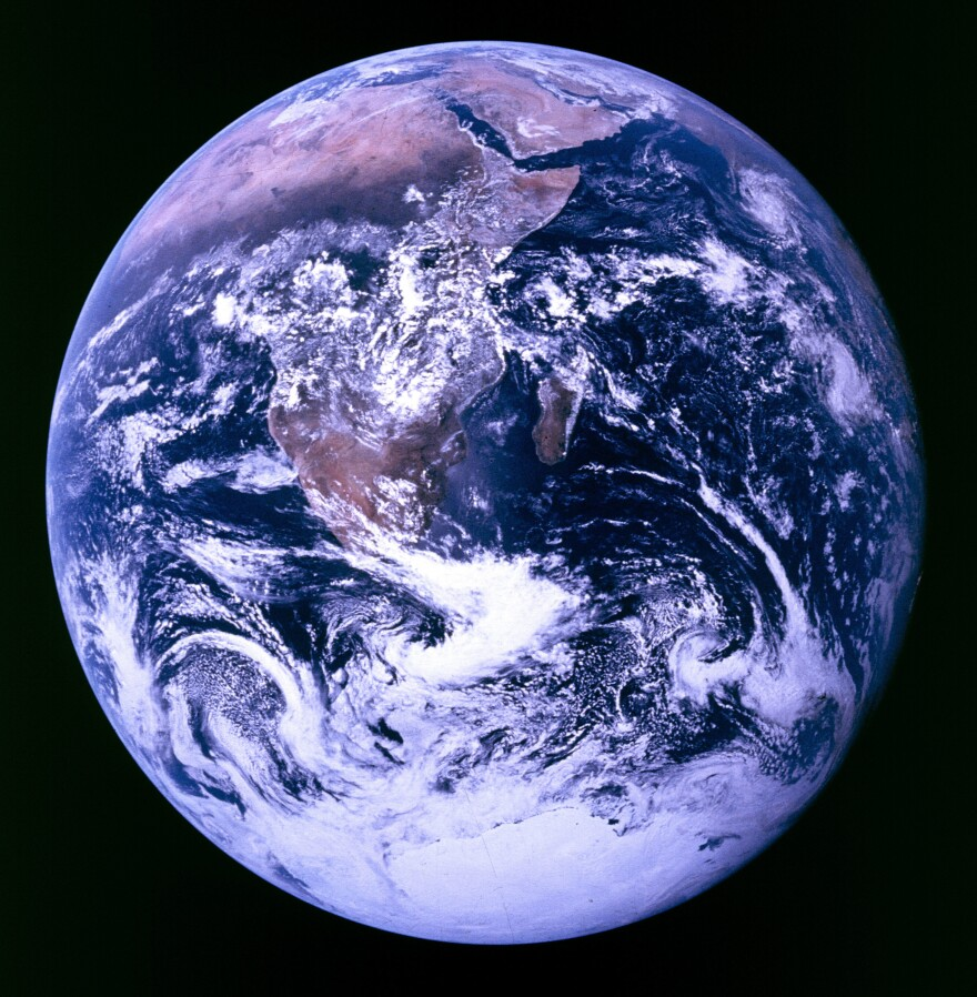 """In one of the most reproduced images of all time, the crew of Apollo 17 captured the perspective of Earth known as """"Blue Marble."""""""