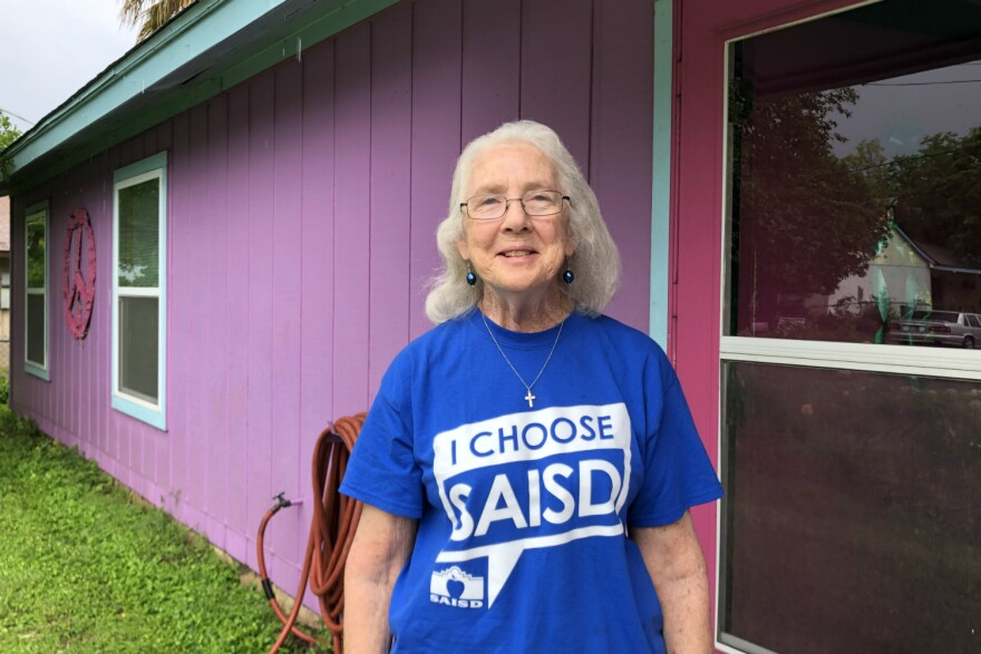 Current board President Patti Radle poses for a portrait outside her home as her supporters head out ask voters for their support Apr. 13.