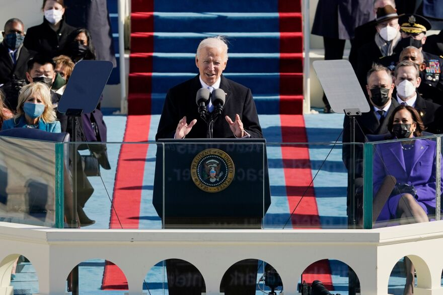 President Biden delivers his inaugural address after being sworn in as the 46th president.