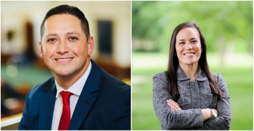 Republican Tony Gonzalez (left) and Democrat Gina Ortiz Jones (right)