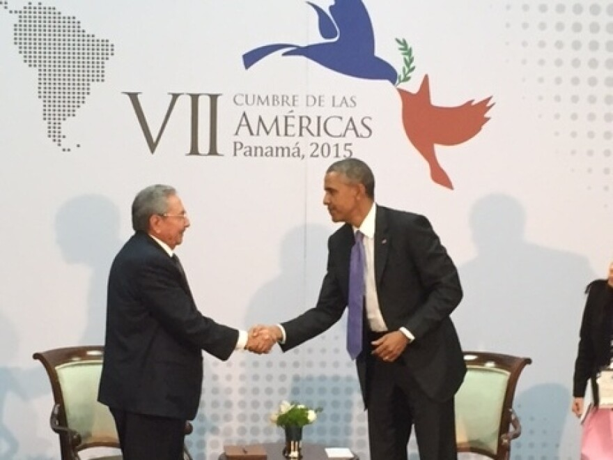 Cuban President Raul Castro and President Obama shake hands as they meet on the sidelines of the Summit of the Americas in Panama City, Panama, on Saturday. It was the first substantive talk between leaders of the two countries in more than five decades.