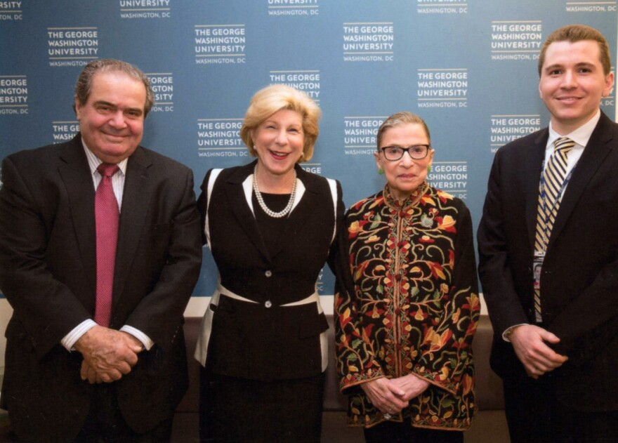 Although they were on opposite sides of the ideological spectrum, Justice Antonin Scalia (left) and Justice Ruth Bader Ginsburg had a professional respect for each other and a personal bond. Nina Totenberg, joined by intern Anthony Palmer, joined the two at a 2015 event.