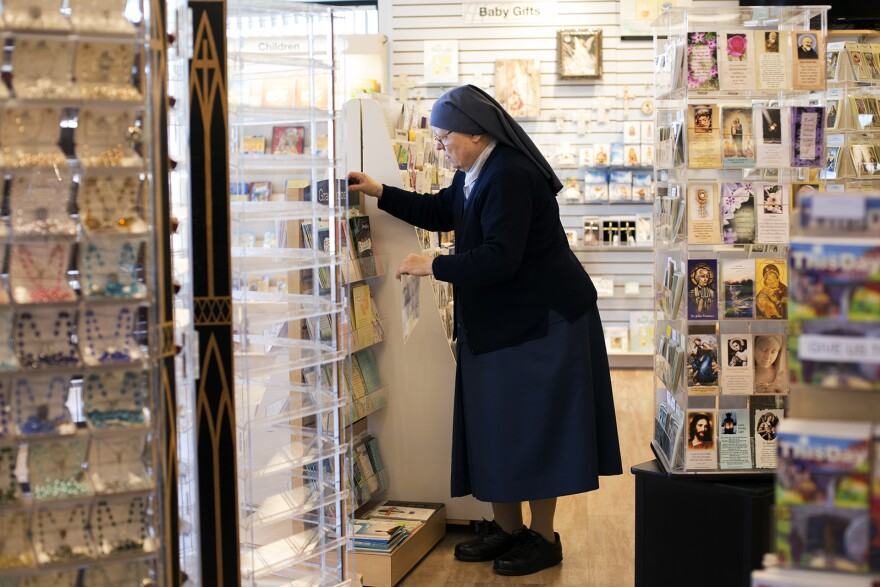 Sister Mary Lea Hill works in the Pauline Books and Media store on Watson Road in Crestwood.