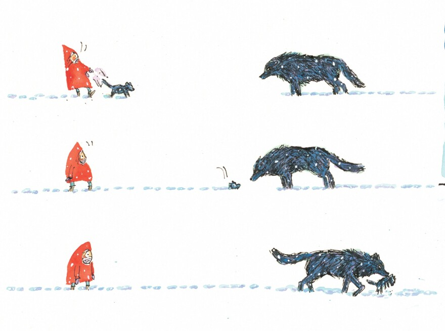 A scene from Matthew Cordell's Wolf in the Snow.