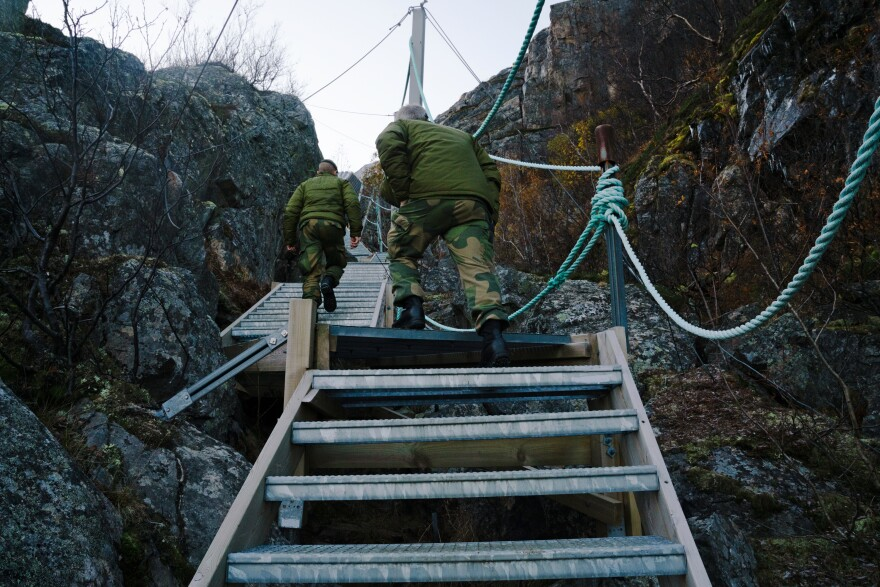 More than 500 stairs are built into the side of the mountain where the Norwegian military observation post is located near the Russian border.