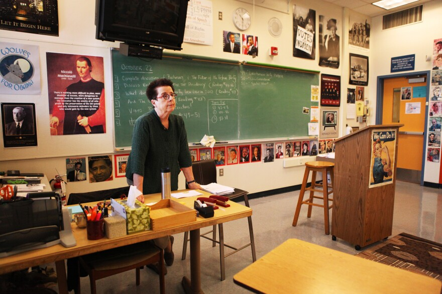 Maryann Wolfe leads her AP American government class at Oakland Technical High School in a discussion about the history of third parties in American politics.