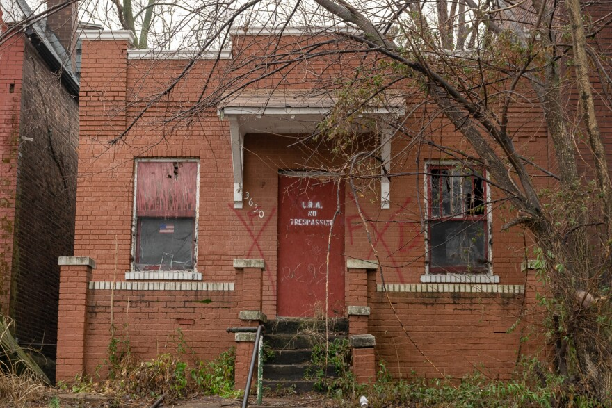 This north St. Louis house has been owned by the Land Reutilization Authority for more than five years, and can be purchased for $1. Feb. 6, 2019.