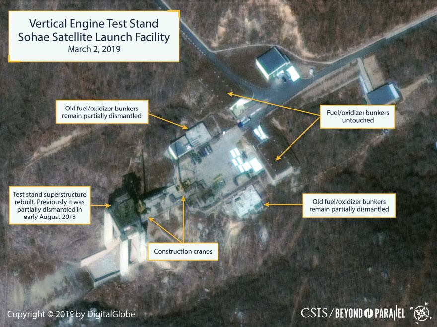 North Korea appears to have rebuilt an engine test stand in a matter of days.
