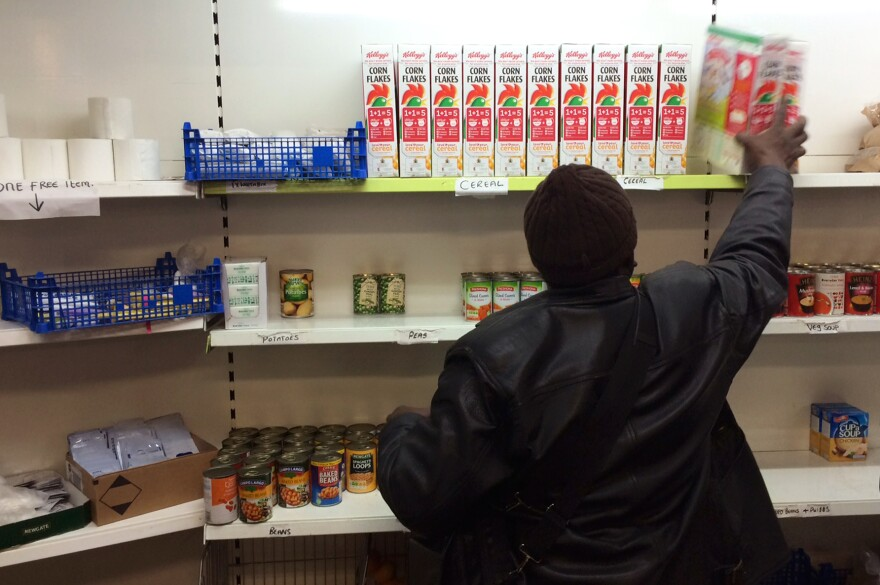 At the We Care food bank in Southeast London, customers pay 1 pound sterling, or about $1.60, for 10 items. The token payment is meant to ease customers' discomfort about having to use the food bank's services.