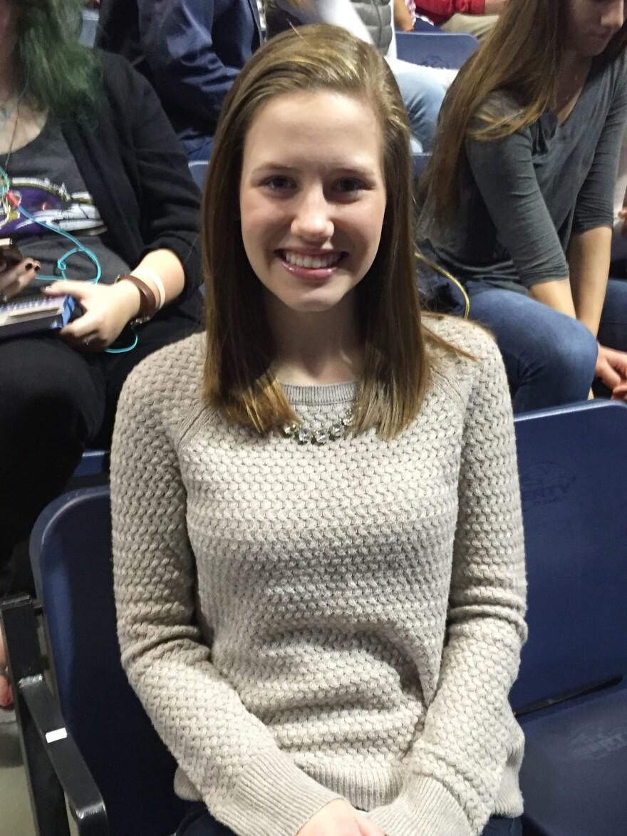 Bayley Sharp, of Roanoke, Va., poses for a photo at Liberty University in Lynchburg, Va., on Oct. 12.