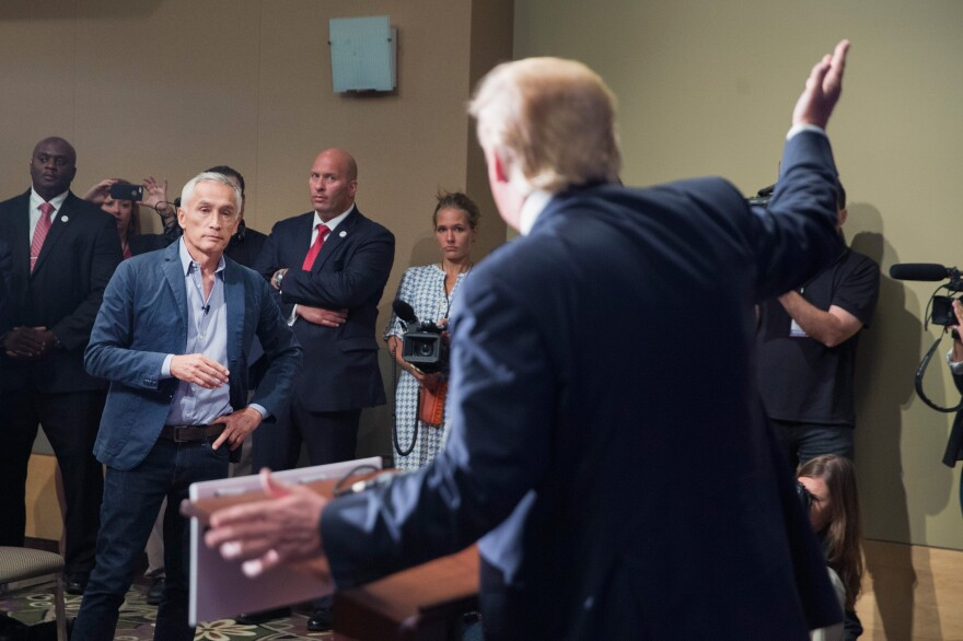 Univision and Fusion anchor Jorge Ramos clashes with Republican presidential candidate Donald Trump during a press conference in Dubuque, Iowa, on Aug. 25.