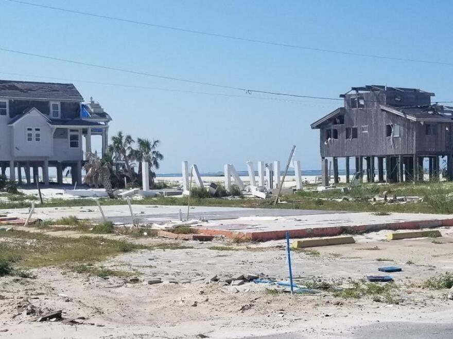 Damage to beach-front home
