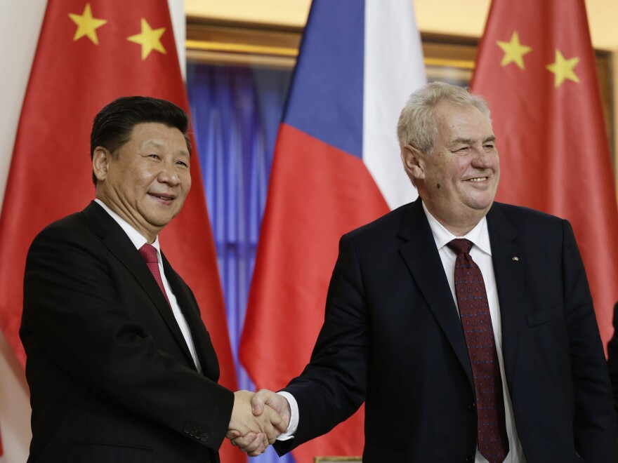 Chinese leader Xi Jinping and Czech Republic President Milos Zeman shake hands in Prague in March 2016. For years, the Czech Republic kept its distance from Beijing. But this changed when Zeman, a populist, took office in 2013.