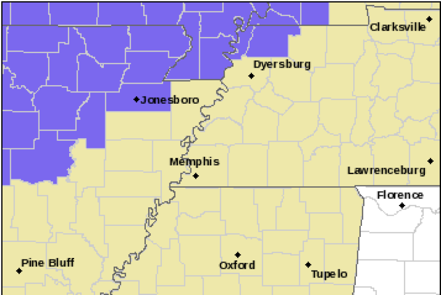 The areas shaded in purple are under a Winter Weather Advisory through Wednesday morning and may encounter freezing rain.  Greater accumulations may be expected for residents further north in Southeast Missouri.