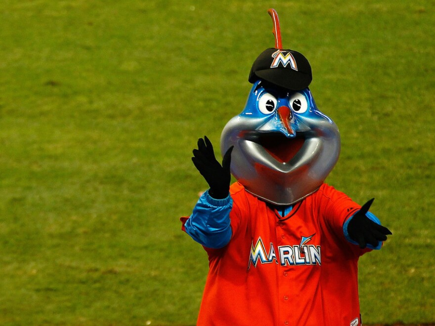 Billy the Marlin cheers during a game between the Miami Marlins and the Houston Astros at Marlins Park in Miami.