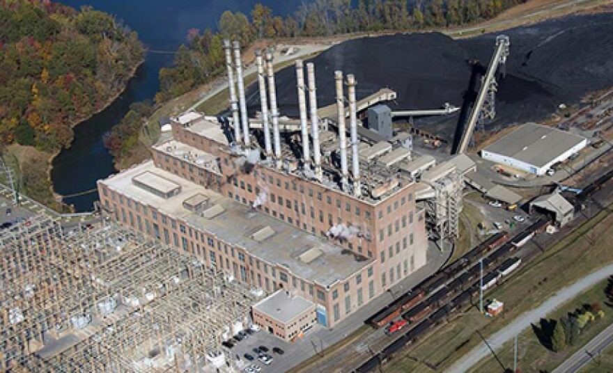 An aerial view of the Riverbend plant on Mountain Island Lake before demolition began. The smoke stacks were pulled down in December.