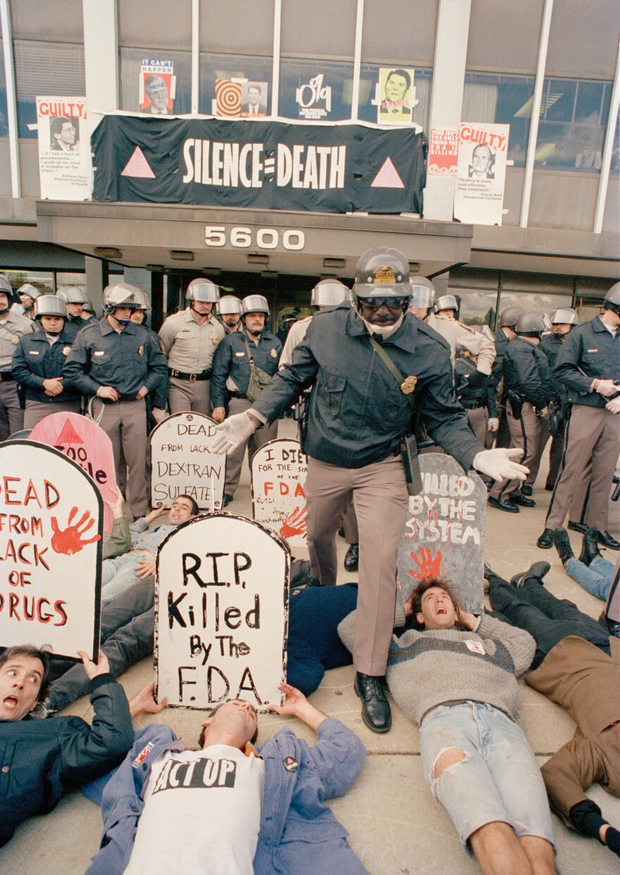 Demonstrators from the organization ACT UP, angry with the federal government's response to the AIDS crisis, protest in front of the headquarters of the Food and Drug Administration in Rockville, Md., on Oct. 11, 1988, and effectively shut it down. By mid-morning some 50 of the protesters were arrested.