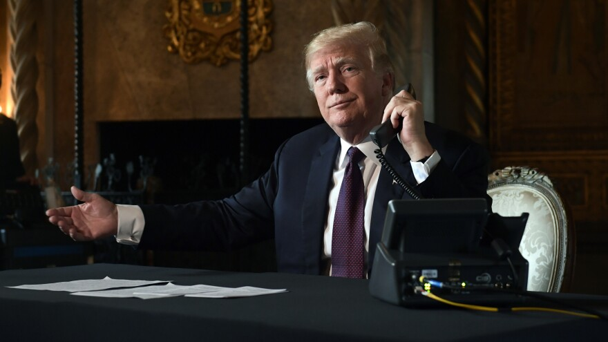 President Donald Trump, pictured at his Mar-a-Lago estate in Palm Beach, Fla., Thursday, continued to rail against the 9th Circuit Court Appeals.