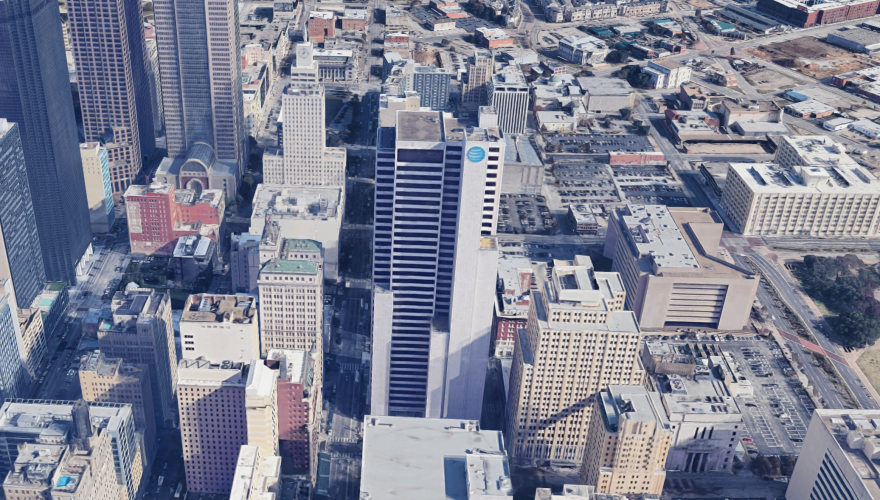 Screenshot of Google Earth's 3D rendering of downtown Dallas. AT&T's headquarters is the tower with the blue logo, center.