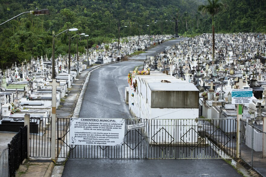 The Lares Municipal Cemetery has been closed since Hurricane Maria caused a landslide that damaged nearly 1,800 tombs at the cemetery's far end. Visits and new burials have been prohibited ever since.