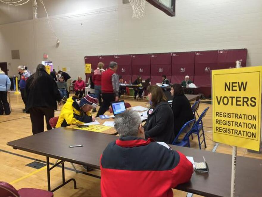 Voters at the polls in Hollis